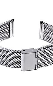 20 milímetros de espessura em aço unisex malha relógio pulseira pulseira banda dobre prata fivela
