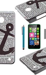 코코 하드 노키아 루미아의 n630에 대한 화면 보호기 및 스타일러스 다시 케이스 커버를 검은 앵커 패턴 PC를 fun®