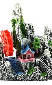 Sunsun Simulation Rockery with House and Waterwheel Decoration for Fish Tank Aquarium