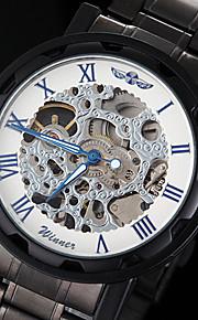 manual do relógio esqueleto ponteiro azul pulseira de aço oca preta mecânico dos homens (cores sortidas)