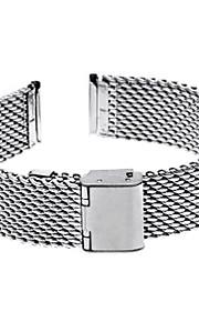 18 milímetros de espessura em aço unisex malha relógio pulseira pulseira banda dobre prata fivela