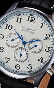 auto-mecânico seis ponteiros de relógio pulseira de couro preta dos homens (cores sortidas)