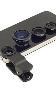 3-i-1 fisheye-objektiv med vidvinkel och makro magnetiska fotolins skit inställd för iphone och andra