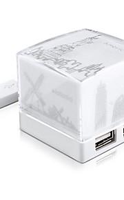 Sharkoon cube nachtlampje extensie stopcontact met USB-hub 2.0 wit