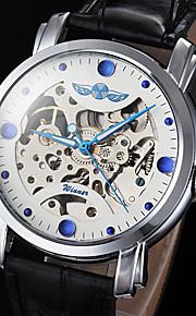 automático relógio de ponteiro mostrador azul oco mecânica pu pulseira de couro de pulso dos homens (cores sortidas)