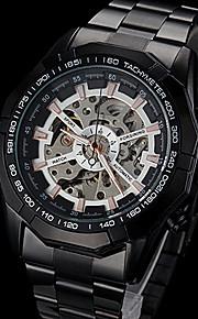 automático relógio de marcação oco pulseira de aço preto mecânico dos homens forsining® (cores sortidas)