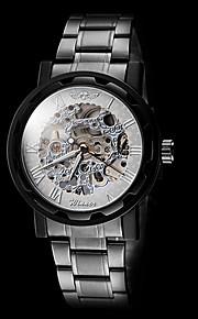 manual do relógio oco rosto esqueleto de prata pulseira de aço preto mecânico dos homens (cores sortidas)