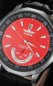 automático de maneira mecânica dos homens discar pu relógio de pulso pulseira de couro (cores sortidas)