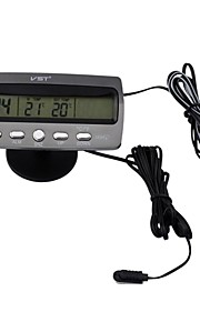 Lighter Black Multi-fonction Car Digital Clock with Thermometer and Automotive Voltmeter/Calendar(12V)