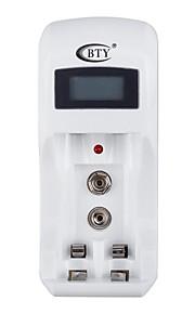 bty C902 batterijlader voor AA / AAA / 9V / Ni-MH / Ni-Cd batterij met LCD-scherm - wit (eu stekker)