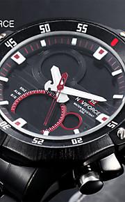 Masculino Assista Quartzo Japonês Relógio Militar LED / Calendário / Cronógrafo / Impermeável / Dois Fusos Horários / alarmeAço