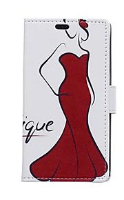 el caso de la tarjeta formas de chica de falda roja PU de la carpeta de cuero de cuerpo completo para el deseo htc 826