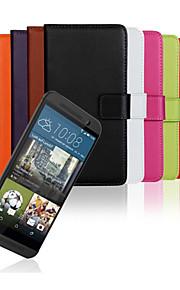 HTC 하나 M9에 대한 스탠드 단색 세련된 정품 PU 가죽 플립 커버 지갑 카드 슬롯 케이스 (모듬 색상)