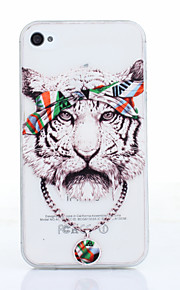 Tiger Pattern TPU Material Phone Case for iPhone 4/4S