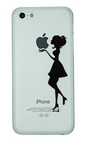 Jenta holder eple etiketten mønster pc hardt bakdekselet tilfelle for iphone 5c