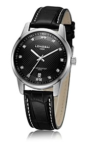 relógio analógico calendário caixa de aço inoxidável pulseira de couro mostrador redondo relógio de quartzo japão negócio dos homens