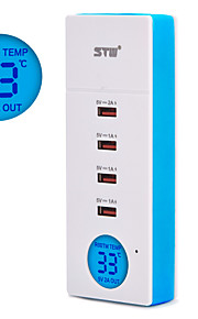 STW 5a 4 port usb hjem oplader smartphone universal oplader med lcd digital temperaturvisning