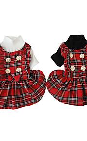 Black/White Collar Cotton Scotland Styles Plaid Skirt Dresses For Dogs/Pets