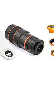 Apexel la clip universale 4 in 1 lente kit 8x teleobiettivo + grandangolare + obiettivo macro + lente fisheye per la maggior parte dei