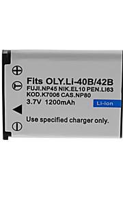 1200mAh camera batterij pack voor olympus li-40b / 42b-s / cnp80 / fnp45 / EN-EL10 / k7006 / dli63