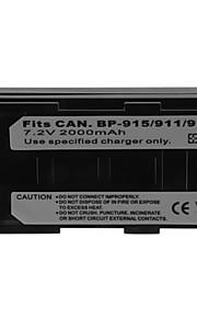 2000mAh camera batterij pack voor Canon BP-915/911/914