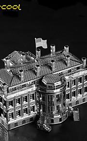 o branco da casa 3d modelo do brinquedo sólido edifício do metal quebra-cabeça quebra-cabeça de montagem filhos adultos