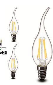 3 stk. ONDENN E14 4 W 4 COB 400 LM Varm hvit A Dimbar LED-glødelampe AC 220-240 V