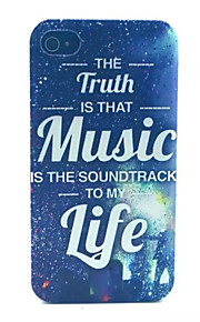 Happy Music Pattern Transparent Frosted PC Back Cover For  iPhone 4/4S