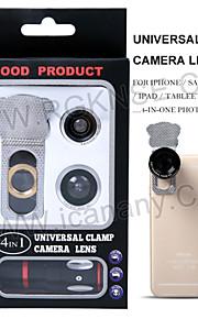 4 i 1 mobiltelefonens objektiv / optisk glaslins / 180 ° fisheye + 0.67x vidvinkel objektiv + 8x teleobjektiv + makroobjektiv