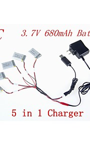 5pcs bateria 680mAh 3.7V com 1-5 partes adaptador usb cabo do carregador para syma x5C x5 x5sc rc Quadrotor