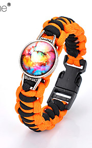 Lureme®Europestyle Brief Orange Intertwine  Black Weave Parachute Cord Dream Starry Sky Time Gem Alloy Bracelet