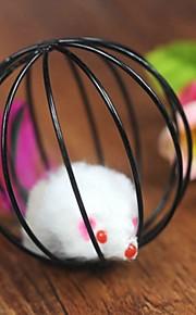 Brinquedo Para Gato Brinquedos para Animais Brinquedo de Provocação Rato de Brinquedo Jaula Com Pelúcia camundongo Preto Plástico
