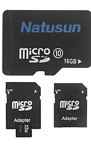 Natusun 16GB Class 10 MicroSDHC TF Memory Card and SDHC Adapter