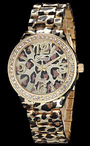 Women's Fashion Geneva Quartz Watch Crystal Case Leopard Print Steel Strap