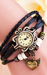 håndvævede kvinders runde dial hånd læder band kvarts analog mode ur (assorteret farve)