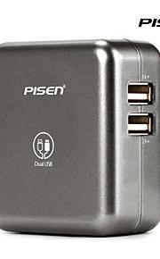 pisen dual usb presa a muro del telefono mobile del caricatore con la spina ac pieghevole e adapterfor sumsung colore grigio argento