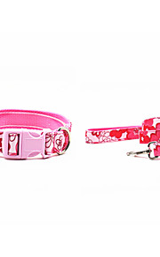 Canvas-The Flower Pattern Pet Collar and Leash Suit (Assorted Sizes,Colors)