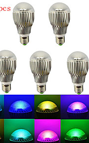 E27 hry® 5pcs RGB 5W הוביל הנורה מנורת אור + שלט רחוק IR (85-265v)