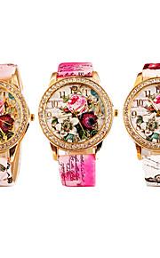 relógio bohemia flores de diamante colar de quartzo analógico das mulheres (cores sortidas)