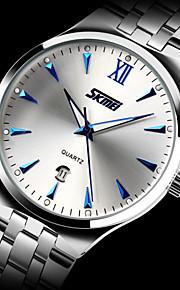 SKMEI homens e aço inoxidável impermeável relógio de quartzo negócio relógio calendário de moda luminosa das mulheres (mais cores)