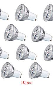 10pcs hry® 3W GU10 / GU5.3 / e27 260lm varm / kjølig hvitt lys ledet spotlights (85-265v)