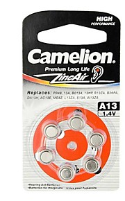 Camelion Zinc Air Hearing Aid Button Cell Size A13 (6 PCS)