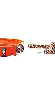 Canvas-The Diamond Lattice Style Pet Collar and Leash Suit (Assorted Sizes)