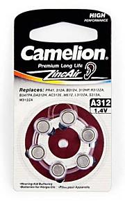 Camelion Zinc Air Hearing Aid Button Cell Size A312 (6 PCS)