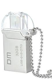 dm pd008 32gb usb unidade otg impermeável 2.0 + micro usb flash para telefones inteligentes&computador - prata