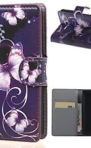 マイクロソフトノキアlumia 435電話バッグケース用カードスロットフリップカバーケースと紫色の蝶の財布レザー