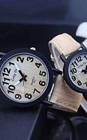 relógio de quartzo superfície de madeira do vintage pu banda do casal