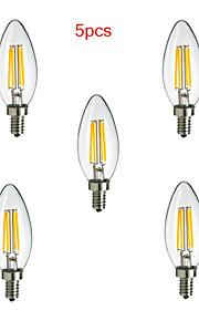 5個 HRY E14 4 W 4 ハイパワーLED 400 LM 温白色 / クールホワイト CA 装飾用 LEDフィラメントランプ AC 85-265 V