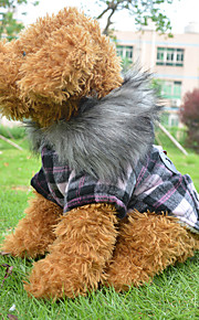 Red/Pink Warm Cold Winter Super Fashion Collar Horn Button Plaid Cotton Coats Clothes For Dogs