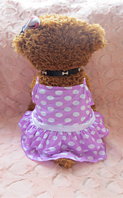 holdhoney lilla og runde hvide prikker bomuld nederdel med skulder-stropper til kæledyr hunde (assorterede størrelser) # lt15050231